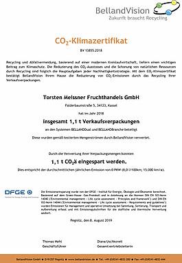 CO2-Klimazertifikat.